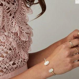 Elton Silver Cuff Bracelet White Kyocera Opal